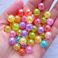 Assorted Cracked Bead | Clear Crackle Beads Assortment in 10mm | Acrylic Ball Beads | Kawaii Chunky Bead Supplies (Colorful Mix / 25pcs)