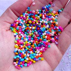 Colorful Seed Beads | Tiny Glass Beads in 2mm | Necklace & Bracelet Making | Weaving & Embroidery Bead Supplies (Around 1900pcs / 25 grams)