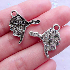 State of Alaska Charms | USA Map Pendant | United States of America Charm | Jewelry Craft Supply (6pcs / Tibetan Silver / 20mm x 22mm)