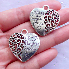 Mother and Daughter Forever Charms | Heart Pendant | Mother's Day Jewelry Making | Gift for Mother (2pcs / Tibetan Silver / 28mm x 29mm / 2 Sided)