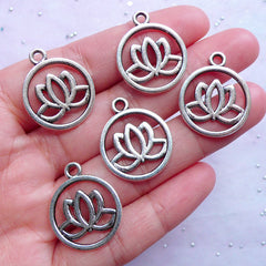 Silver Lotus Charms | Round Flower Outline Tag | Metal Hollow Floral Pendant | Jewelry Making Supplies (5pcs / Tibetan Silver / 20mm x 24mm / 2 Sided)