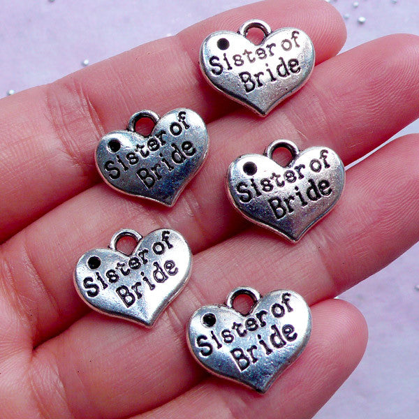 Sister of Bride Charms in Heart Shape | Wedding Supplies | Favor Decoration | Bridesmaid Gift Packaging (5pcs / Tibetan Silver / 16mm x 14mm / 2 Sided)