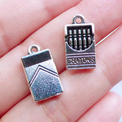 CLEARANCE Dollhouse Crayons Charms | Miniature Crayola Pendant | Mini Stationery Charm | Novelty Jewellery Making (4pcs / Tibetan Silver / 9mm x 17mm / 2 Sided)