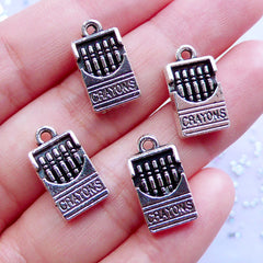 Dollhouse Crayons Charms | Miniature Crayola Pendant | Mini Stationery Charm | Novelty Jewellery Making (4pcs / Tibetan Silver / 9mm x 17mm / 2 Sided)