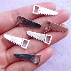 Hand Saw Charms | Silver Miniature Hardware Tool Pendant | Novelty Charm Supplies | Gift for Father (6 pcs / Tibetan Silver / 9mm x 23mm / 2 Sided)