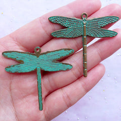 Big Dragonfly Green Patina Pendant | Large Insect Charms | Jewelry Charm Supplies (2 pcs / Antique Bronze / 47mm x 42mm)