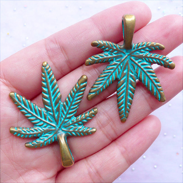Big Marijuana Green Patina Charms | Large Pot Leaf Pendant | Hippie Weed Charms | Cannabis Jewelry DIY (2 pcs / Antique Bronze / 34mm x 41mm)
