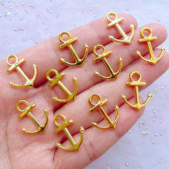 Gold Anchor Charms | Small Nautical Pendant | Boat Jewelry DIY | Bracelet Making (10pcs / 15mm x 19mm / 2 Sided)
