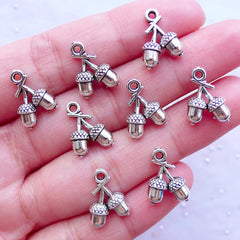 Mini Acorn Charms in 3D | Oak Nut Pendant | Squirrel Jewelry Making | Silver Charm Supplies (8pcs / Tibetan Silver / 10mm x 14mm / 2 Sided)