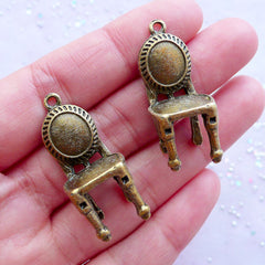 Antique Chair Charms in 3D | Vintage Furniture Pendant | Dollhouse Miniature Jewelry Making (2pcs / Antique Bronze / 15mm x 32mm)