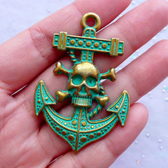 Pirate Skull & Anchor Charms | Green Patina Jolly Roger Pendant | Nautical Jewelry Making (1 piece / Antique Bronze / 36mm x 54mm)