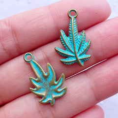 Little Cannabis Charm with Green Patina Finish | Small Marijuana Pendant | Weed Pot Leaf Charms | Hippie Jewelry Making (4 pcs / Antique Bronze / 13mm x 22mm)