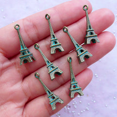 Eiffel Tower Charm with Green Patina Finish | France Paris Tower Pendant in 3D | Travel Jewelry Charm Supply (7 pcs / Antique Bronze / 8mm x 23mm)