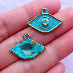 Green Patina Evil Eye Charms | Nazar Pendant | Religion Protection Charm Supplies | Yoga Jewellery DIY (3 pcs / Antique Bronze / 22mm x 15mm)