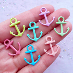 Enamel Anchor Charms | Small Nautical Pendant | Colorful Enameled Charm Supplies | Boat Ship Seaman Jewellery DIY (3 pcs / Assorted Colors by RANDOM / 15mm x 19mm / 2 Sided)