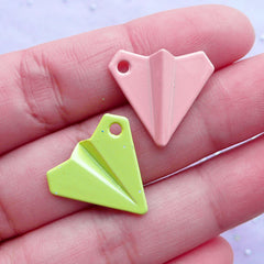 Enameled Charm Supplies | Paper Airplane Charms | Kawaii Origami Plane Pendant | Colorful Aviation Jewellery Making (3 pcs / Assorted Colors by RANDOM / 19mm x 17mm)