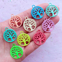 Enamelled Charm Supplies | Colorful Tree of Life Charms | Spiritual Pendant | Yoga Zen Jewellery Making (3 pcs / Assorted Colors by RANDOM / 20mm x 24mm / 2 Sided)