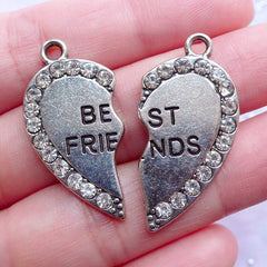 Best Friends Charms with Rhinestones | Heart Message Pendant | Friendship Forever Jewellery DIY (1 set of 2 pcs / Tibetan Silver)