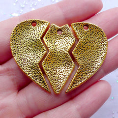 Gold Best Bitches Pendant | Message Heart Charms | Friendship Jewellery DIY | Best Friend Gift Ideas (1 set of 3 pcs / Antique Gold)