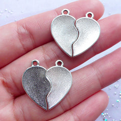 Best Friends Heart Charms | Friendship Forever Pendant | Message Jewellery Making (2 sets / Tibetan Silver)