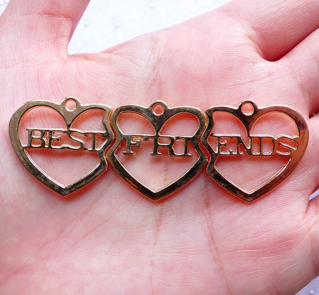 Best Friends Hollow Heart Pendants | Friendship Forever Charms | Message Jewelry Making (1 set / Gold)