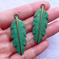 Green Patina Feather Charms | Large Feather Pendant | Bird Charm | Native Tribal Jewellery DIY (2 pcs / Antique Bronze / 16mm x 45mm)