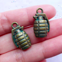 Grenade Charms in 3D | Green Patina Hand Bomb Pendant | War Soldier Charm | Weapon Jewellery Making (2 pcs / Antique Bronze / 13mm x 22mm / 2 Sided)