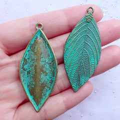 Green Patina Leaf Charms | Large Leaf Pendant | Big Leaves Charm | Nature Floral Jewellery Making (3 pcs / Antique Bronze / 22mm x 51mm)