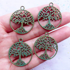 Green Patina Celtic Tree of Life Pendant | Spiritual Tree Charms | Ancient Symbol Charm | Yoga Jewellery DIY (4 pcs / Antique Bronze / 25mm x 29mm / 2 Sided)