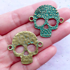 Day of the Dead Connector Charms | Sugar Skull Link Charm | Dia de los Muertos Mexico Jewelry Making | Halloween Decor (3 pcs / Antique Bronze / 33mm x 31mm)