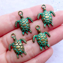 Sea Turtle Charms with Green Patina Finish | Marine Life Pendant | Aquarium Animal Charm | Beach Jewelry DIY (4 pcs / Antique Bronze / 17mm x 23mm)