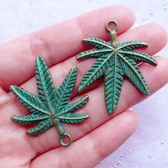 Green Patina Pot Leaf Charms | Marijuana Pendant | Cannabis Weed Grass Charms | Hippy Necklace Making (2 pcs / Antique Bronze / 32mm x 37mm)
