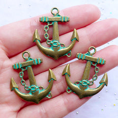 Antique Anchor Pendant with Green Patina Finish | Nautical Charms | Boat Ship Yacht Charm | Sailing Jewellery DIY (3 pcs / Antique Bronze / 27mm x 31mm / 2 Sided)