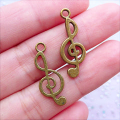 G Clef Charms | Treble Clef Pendant | Music Note Drop | Jewelry Making for Music Lovers (10 pcs / Antique Bronze / 10mm x 24mm)