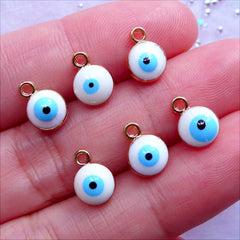 Mini Evil Eye Charms | Tiny Enamel Stink Eye Drop | Protection Jewelry Making | Turkish Nazar Charm Supplies (6pcs / Gold & White / 7mm x 9mm / 2 Sided)