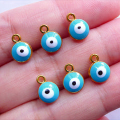 Blue Evil Eye Charms | Mini Nazar Stink Eye Pendant | Turkish Protection Charm Supplies | Enameled Jewellery Making (6pcs / Gold & Blue / 7mm x 9mm / 2 Sided)