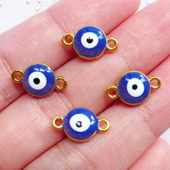 Blue Evil Eye Charm Link | Enameled Nazar Charm Connector | Talisman Charm Supplies | Protective Jewellery DIY (4pcs / Gold & Blue / 8mm x 13mm / 2 Sided)
