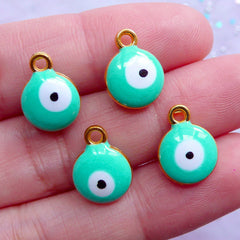 CLEARANCE Small Evil Eye Charm | Enamel Nazar Pendant | Good Luck Charm | Talisman Jewellery Making (4pcs / Gold & Turquoise / 10mm x 13mm / 2 Sided)