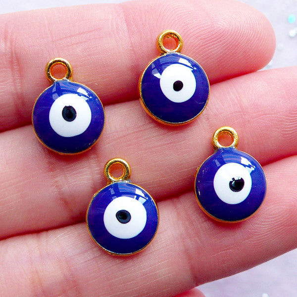 Small Nazar Charms | Enamel Evil Eye Pendant | Sacred Charm Supplies | Good Luck Jewellery | Spiritual Talismans (4pcs / Gold & Blue / 10mm x 13mm / 2 Sided)