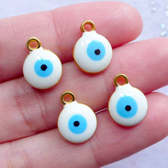 Enamel Sacred Charm | Little Evil Eye Charms | Nazar Talisman Pendant | Spiritual Lucky Jewelry (4pcs / Gold & White / 10mm x 13mm / 2 Sided)