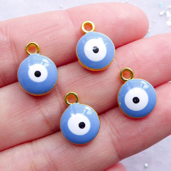 Ayin Hara Charms | Enamel Talisman Pendant | Blue Nazar Evil Eye Charm | Sacred Jewellery Making (4pcs / Gold & Blue / 10mm x 13mm / 2 Sided)