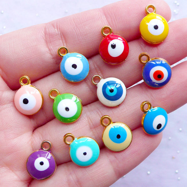 Sacred Talisman Charms | Enamel Ayin Hara Pendant | Nazar Jewellery DIY |  Evil Eye Charm Supplies (4pcs / Assorted Colorful Mix / 10mm x 13mm / 2