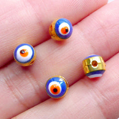 Mini Evil Eye Beads | Sacred Ayin Hara Bead | Talisman Jewelry Making | Nazar Bead Supplies (4pcs / Gold & Blue / 5mm / 2 Sided)