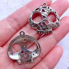 Silver Sugar Skull Charms | Day of the Dead Pendant | Mexican Halloween Jewelry Making | Silver Charm Supplies (3 pcs / Tibetan Silver / 27mm x 27mm)