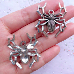 Silver Spider Charms | Big Spider Pendant | Gothic Jewelry Making | Large Insect Charm | Spooky Halloween Decor (2 pcs / Tibetan Silver / 32mm x 35mm)