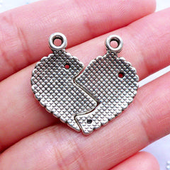 Mother & Daughter Heart Charms | Heart Puzzle Pendant | Gift for Mom | Mother's Day Craft Supplies (2 Sets / Tibetan Silver)