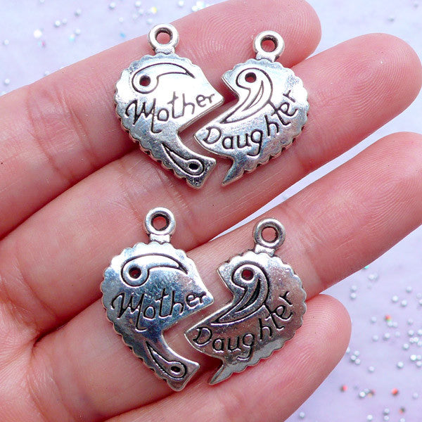 Mother Daughter Heart Charms Heart Puzzle Pendant Gift For Mom
