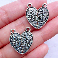 Heart Puzzle Charms | Best Friends Pendant | Friendship Forever Jewellery DIY | Gift for Best Friend (2 Sets / Tibetan Silver / 2 Sided)