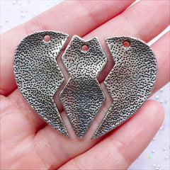 Heart Puzzle Best Bitches Charms | Friendship Pendant | Message Necklace Making | Gift for Best Sisters | Best Friends Forever (1 set of 3 pcs / Tibetan Silver)