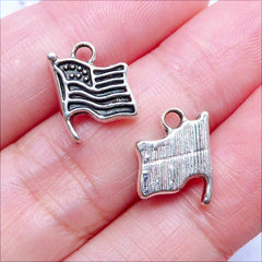 Mini American Flag Charm | Tiny Flag of United States | Small USA Flag Drop | Patriotic Jewelry Making (10pcs / Tibetan Silver / 9mm x 12mm)